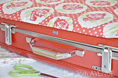 Take hard-sided suitcase, spray paint, & mod podge cute fabric. Love! Store toys, memories, craft supplies...