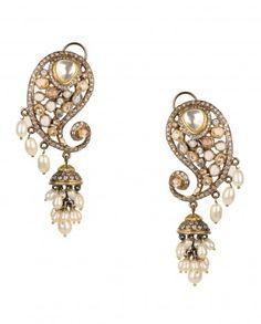 Paisley Earrings with Jhumka Drop