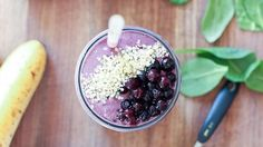 Low Sugar, High Protein Creamy Wild Blueberry Breakfast Smoothie - Wild Blueberries #weightlossmotivationbeforeandafter