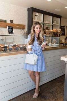 A seersucker dress is a perfect preppy outfit!