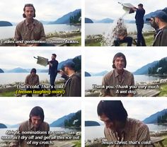 [gifset] Jensen dowsing Jared with Ice Water for the ALS foundation. #Jensen #Jared #IceBucketChallenge