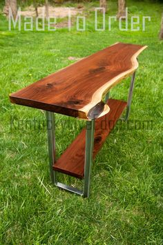 Build Your Live Edge Floating Console Table With Shelf Choose Your Slabs and Finished Dimensions Choose Your Metal Finish Wooden Sofa Table