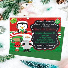 Christmas Party Invitations Kids Christmas by PrintYourInvite Christmas Invitations, Christmas Party Invitations, Kids Christmas, Christmas Holiday, Christmas Ornaments, Printable Invitations, 5th Birthday, Holiday Parties, Santa