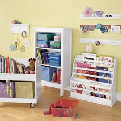 Kids Book Storage: White Kids Rolling Book Storage Shelf and Bin | The Land of Nod