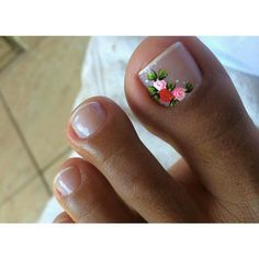 Toe Nail Art Designs with Flowers Pedicure Nail Art, Pedicure Designs, Toe Nail Designs, Gel Nails, Flower Toenail Designs, Nail Art Toes, French Manicure Toes, Pink Toe Nails, French Pedicure