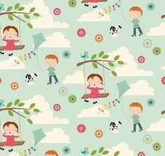 Blue Children's Fabric  Fly a Kite by Riley by CreateByTheYard, $2.75