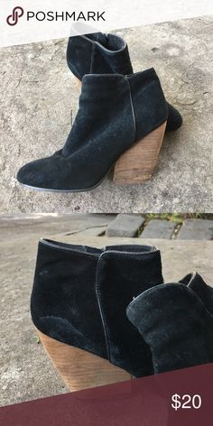 Suede Ankle Booties with Wooden Heel Zippers on the side. Well worn, some minor staining (see second pic) and need some TLC, but super adorable for an every day bootie. Ecote Shoes