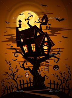 Halloween party background with silhouette of castle in mystic spooky forest at night. Castle on the tree on a background of the f
