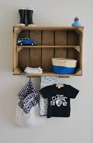 If you need more room at the changing table hang this above. Baby Boy Rooms, Baby Bedroom, Baby Boy Nurseries, Nursery Room, Kids Bedroom, Cool Baby, Deco Kids, Old Wooden Boxes, Kids Decor