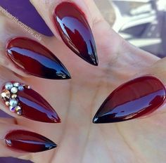 beauty, dark red, and fall nails image