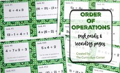 Order of Operations FREE task cards & recording pages from The Curriculum Corner | 5th Grade Math | Centers Math Tutor, Teaching Math, Teaching Ideas, Creative Teaching, Free Math Practice, Sixth Grade Math, Math Task Cards, Free Task Cards, Math Talk