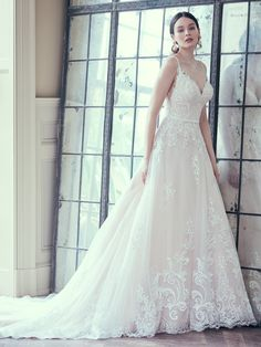 Maggie Sottero - WALLIS, Dear enthusiasts of the princess-inspired lace A-line wedding dress: do you want to stop searching for the perfect combination of textured tulle, romantic motifs, and chic neckline? Or is it the thrill of the chase that keeps you going?