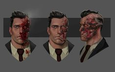 Some portrait designs for Two Face in Telltale's Batman season Harvey was already designed and modeled before I joined so I had to explore how brutal his two face damage would be. I thought it would be extra brutal if at first Gotham Villains, Comic Villains, Gotham Batman, Dc Comics Characters, Dc Comics Art, Batman Art, Batman Comics, Batman Robin, Superhero Villains