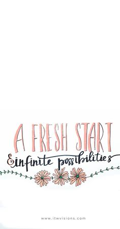 A fresh start and infinite possibilities is another great inspirational quote when you need some extra motivation. I love hand lettered quotes. hand lettering, inspirational quote, motivate, positive vibes, positive thoughts.