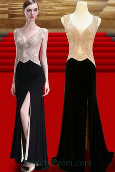Chiffon Sequin Nude And Black Evening Dresses With Slit ALS,Chiffon Sequin Nude And Black Evening Dresses With Slit ALS Affordable Evening Dresses, Chiffon Evening Dresses, Black Evening Dresses, Formal Dresses, Slit Dress, Sequins, Nude, Fashion, Dresses For Formal