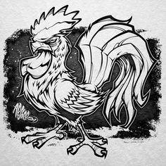 Badass Drawings, Cool Art Drawings, Art Drawings Sketches, Cartoon Drawings, Cartoon Art, Rooster Tattoo, Rooster Art, Animal Sketches, Animal Drawings