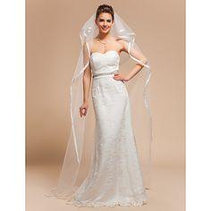 δύο ταχυτήτων παρεκκλήσι γαμήλιο πέπλο πέπλα με κορδέλα άκρη – EUR € 25.78