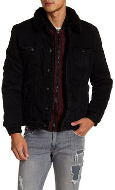 Ron Tomson Faux Shearling Trim & Lining Jacket