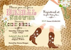 Cowboy Boot's Sunflower Wedding Printable Invitation by Sarahmkey