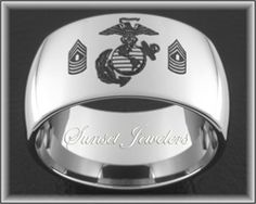 USMC Tungsten Ring. Get your Marine's ranking custom engraved for free!