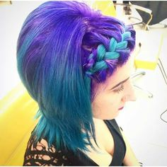 Purple blue green ombre with braid Colourful hair by Denise:-) Colourful Hair, Blue Green, Purple, Cool Hairstyles, Braids, Hair Color, Fancy, Hair Styles, Beauty