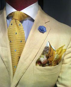 Mariano Rubinacci Real Sito Di Capodimonte silk pocket square knitted yellow tie