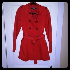 DKNY Red Trench Make a statement in monochrome with this pop of red on a rainy day! DKNY Jackets & Coats Trench Coats