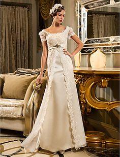 Sheath/Column Queen Anne Court Train Chiffon And Lace Wedding Dress (467025)