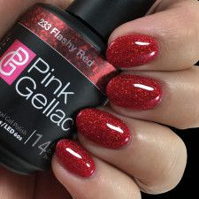 Pink Gellac Gel Nagellak Kleur 233 Flashy Red - Famous Last Words Shellac, Gel Nails, Red Y, Red And Pink, Vaseline, Road Trip With Dog, Swatch, Finger, Nagel Blog