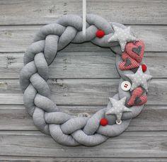 Wianek Świąteczny czerwono-szary - Moja-Manufaktura - Dekoracje bożonarodzeniowe