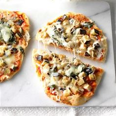 Eggplant Flatbread Pizzas Recipe -I'm now a professional chef, but I loved making this recipe for the family on Friday nights as a home cook. We like to shake pizza up with unique, fresh toppings. —Christine Wendland, Browns Mills, New Jersey Eggplant Pizza Recipes, Flatbread Pizza Recipes, Eggplant Pizzas, Easy Vegetarian Dinner, Vegetarian Recipes, Veggie Recipes, July 4th Appetizers, Pizza Recipes At Home, Quick Pizza