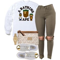 A fashion look from February 2017 featuring A BATHING APE t-shirts, Puma sneakers i Michael Kors wallets. Browse and shop related looks.