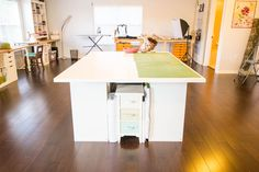 DIY Sewing and Cutting Table - with storage cubbies underneath!