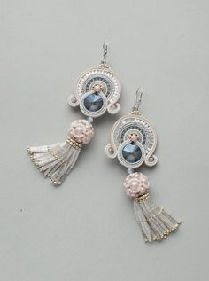 Soutache handmade dangle long earrings in pale pink, white and gray color with satin beaded tassels. This beaded embroidery jewelry suitable for your special occasions: birtday or wedding. Earrings made ​​in technology soutache with Swarowski crystals, Japan seed beads, glass pearls,