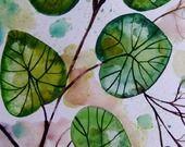 Plantes aquarelle nature décor art feuilles peinture originale art contemporain : Peintures par celine-artpassion