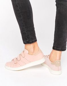 sports shoes a3a5d 4a124 Shop adidas Originals Pink Nubuck Leather Stan Smith Trainers With Strap at  ASOS.