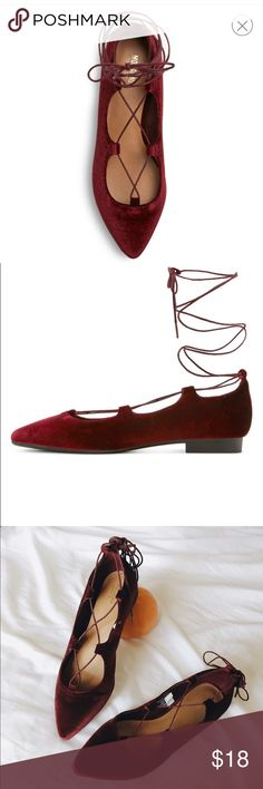 Burgundy Velvet Lace Up Flats I purchased them & only wore them for one occasion. They are basically brand new  Mossimo Supply Co Shoes Flats & Loafers