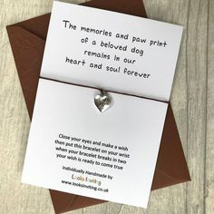 Pet Loss Bracelet - Dog Sympathy Gift by Looks Inviting with Free UK Delivery Pet Loss Gifts, Dog Gifts, Dog Memorial, Memorial Gifts, Sympathy Gifts, Sympathy Cards, Loss Of Dog, My Best Friend's Birthday, Motivational Gifts
