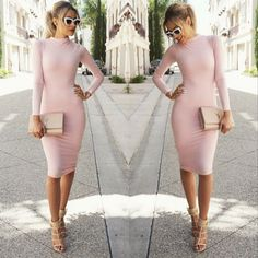 Unique long sleeves and bodycon design make women fashion and sexy,pink color set off your skin softly,suitable for work and party #bodycondresses #pencildress