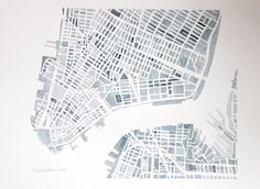 New York City Manhattan Gray and White 8x10 City map watercolor. $185.00, via Etsy.