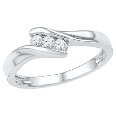 1/6 CT. T.W. Round Diamond Channel Set Three Stone Promise Ring in 10K White Gold (8), Women's