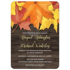 Wedding Invitations - Rustic Autumn Leaves and Wood
