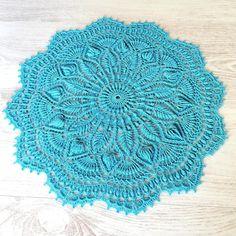 Sky blue round textured doily vintage centrepiece crochet | Etsy Plate Mat, Vintage Centerpieces, Lace Table, Vintage Plates, Star Sky, S Pic, Crochet Doilies, Etsy App, Colours