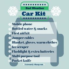 Cars hacks 2019 Bad Weather Car Kit Build a box for the car in case of emergency! Water, first aid kit, snacks, blanket, ice scraper. Be prepared. Kit Cars, Car Kits, In Case Of Emergency, Emergency Water, Emergency Kits, Emergency Preparedness, Emergency Preparation, Survival Kits, Car For Teens