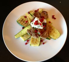 Lamb with grilled courgettes, minted ricotta and pomegranate. London Eater, Ricotta, Pomegranate, Lamb, Mint, Apple, Fruit, Food, Zucchini