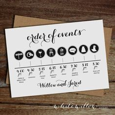 Custom Wedding Day Timeline Order of Events by WhiteWillowPaper