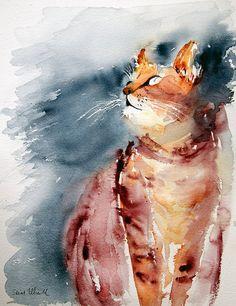 Cat watercolor, aquarelle chat - Original painting, Peinture originale, Watercolor, Aquarelle, French art,cat,chat