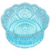 Large Diamond Cut Fruit Bowl (Aqua Opalescent Glass)