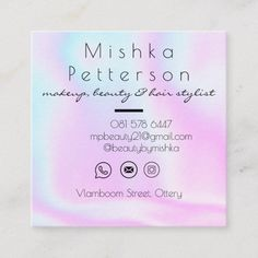 Customizable Business Card made by Zazzle Invitations. Create Your Own Business, Zazzle Invitations, Holographic, Business Cards, Card Making, Rainbow, Chic, Makeup, Modern