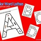 These are color word worksheets. All 26 Uppercase letters are divided up into different sections. Each section is labeled with a color word. The ch...
